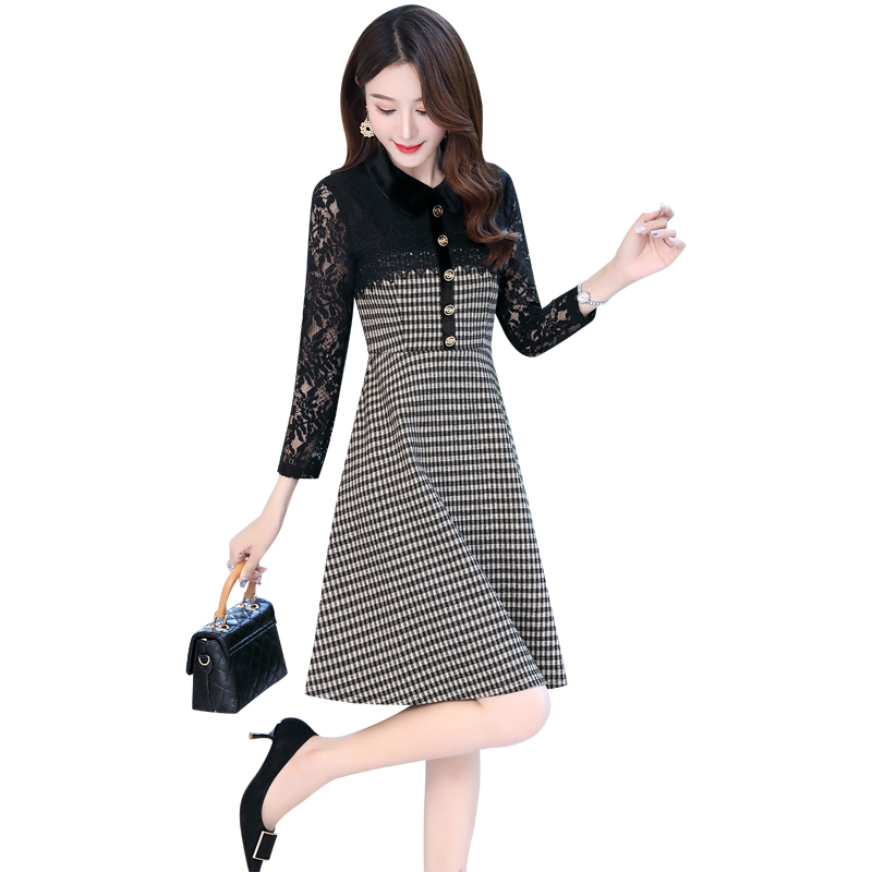 Spring new style lace Quarter Sleeve Plaid Skirt slim waist dress one-piece dress in02028