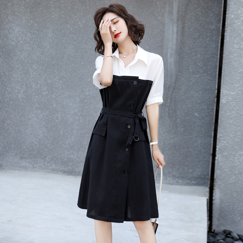 Polo collar short sleeve skirt color matching dress side buckle belt one-piece skirt smoky gray / black ks02038