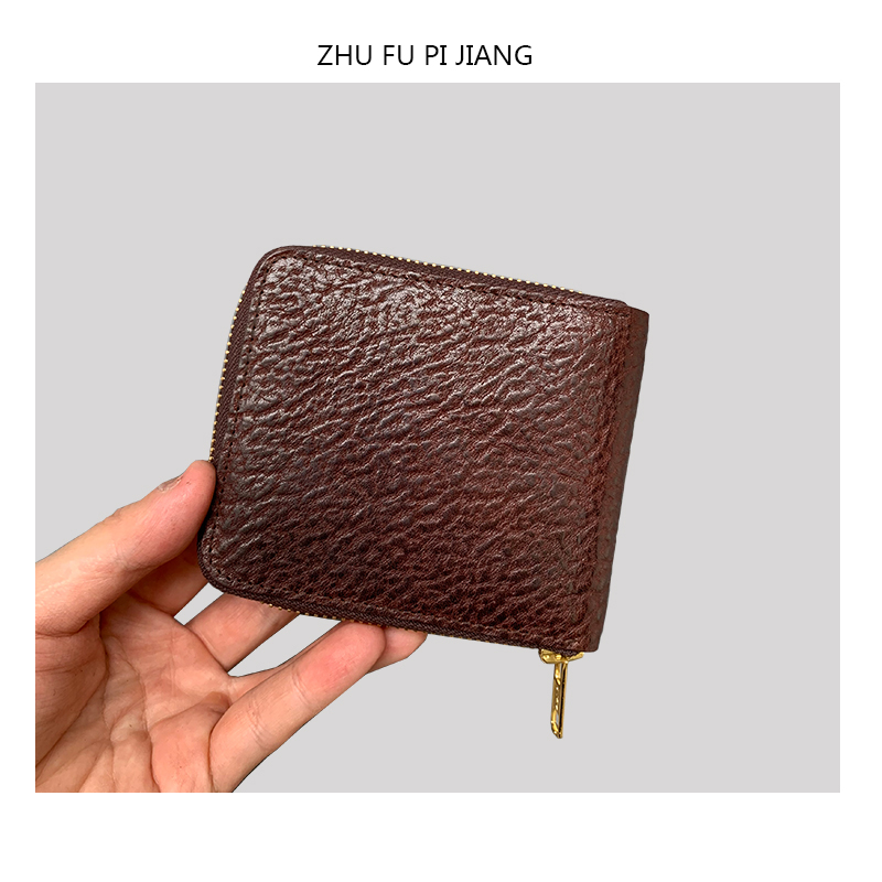 Zhufu leather craftsmans head leather zipper short wallet leather short style retro simple large capacity leather hand Retro