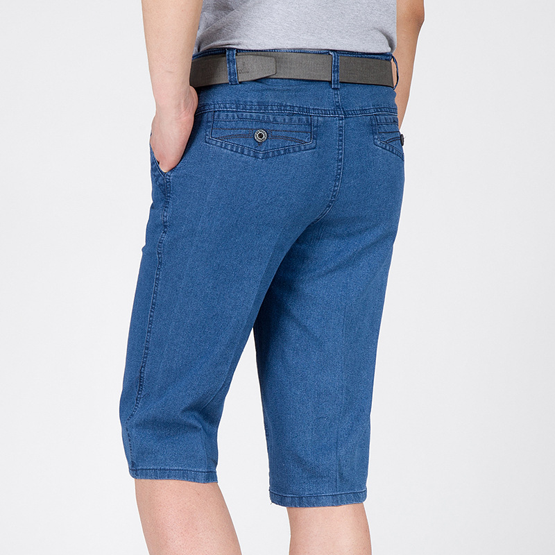 Tomson jeans mens summer thin shorts loose high waist large breeches 7-point pants elastic casual pants