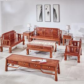 红木家具客厅刺猬紫檀沙发实木新中式花梨木好运来小户型沙发组合图片