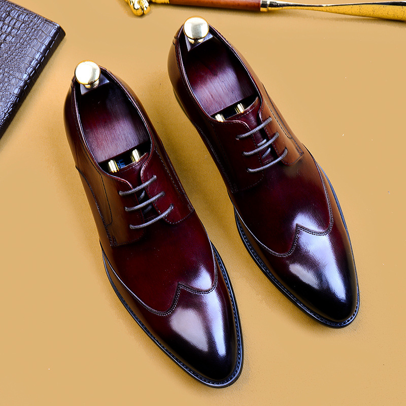 Summer Italian mens business casual leather shoes pointed low top British Style Mens formal single shoes European and American wedding shoes