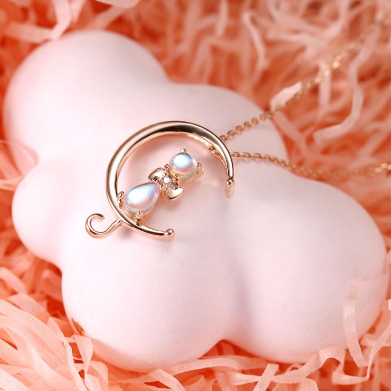 半月狐狸吊坠项链银女款925纯银简约个性 气质珍珠挂件镶嵌细项链