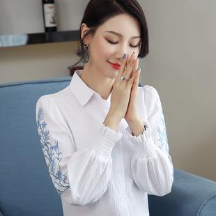 纯棉衬衣2019秋季新款女装灯笼袖上衣白色长袖女士衬衫设计感小众价格