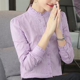 纯棉女士衬衫2019新款洋气女装秋冬款百搭立领上衣长袖加绒白衬衣