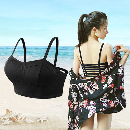 Beautiful back sexy hollowed out strapless bra wrap chest bottom underwear womens summer light proof sling with chest cushion vest