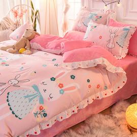 床上床裙四件套儿童全棉纯棉女孩床品可爱三件套4粉少女心+公主风