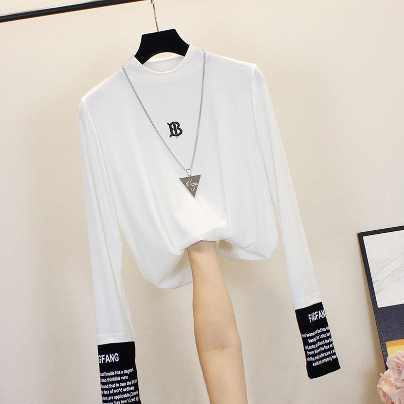 白色t恤女长袖ins修身字母打底衫(用59元券)