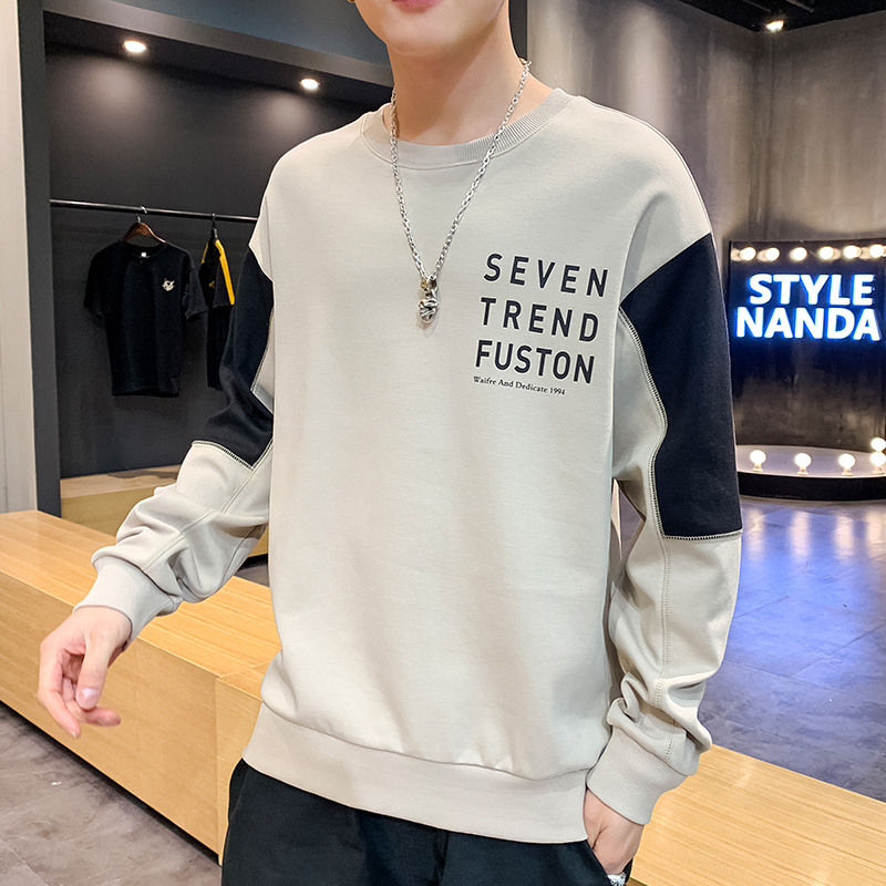 Spring and autumn bottoms mens long sleeved T-shirt loose fashion brand with youth port style sweater ins fashion clothes