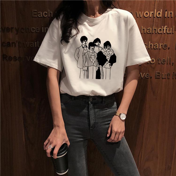 实拍 韩版chic简约宽松圆领卡通T恤上衣女新款百搭短袖打底衫