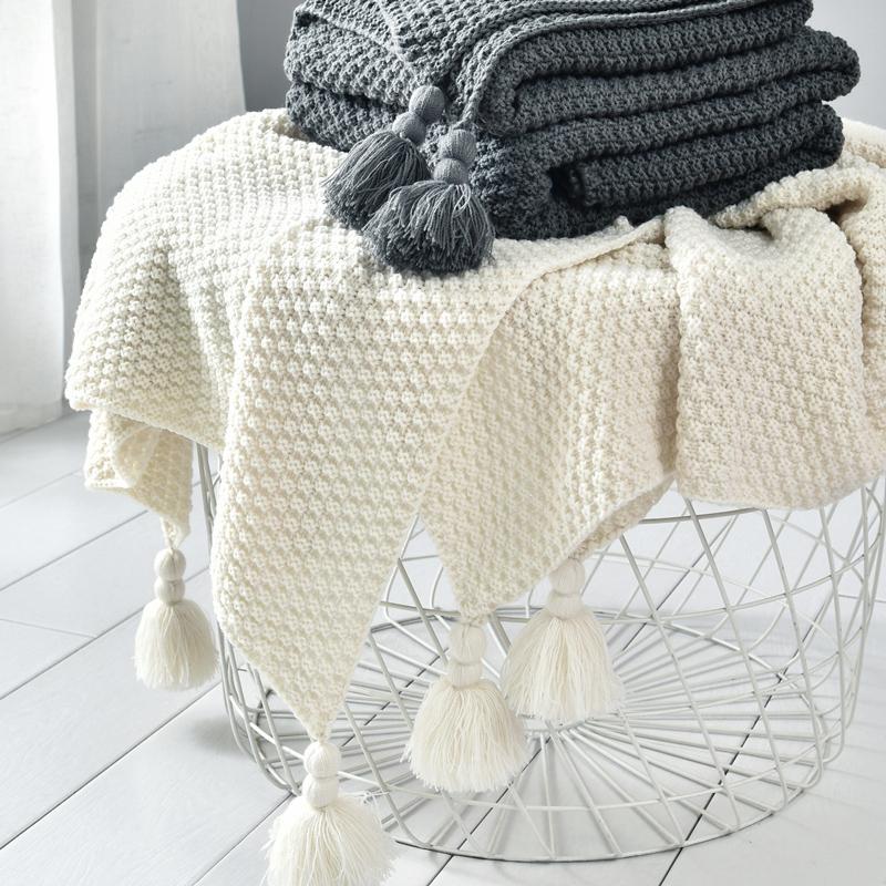 ins北欧风沙发盖毯办公室午睡毯子流苏针织球毛线休闲空调小毛毯