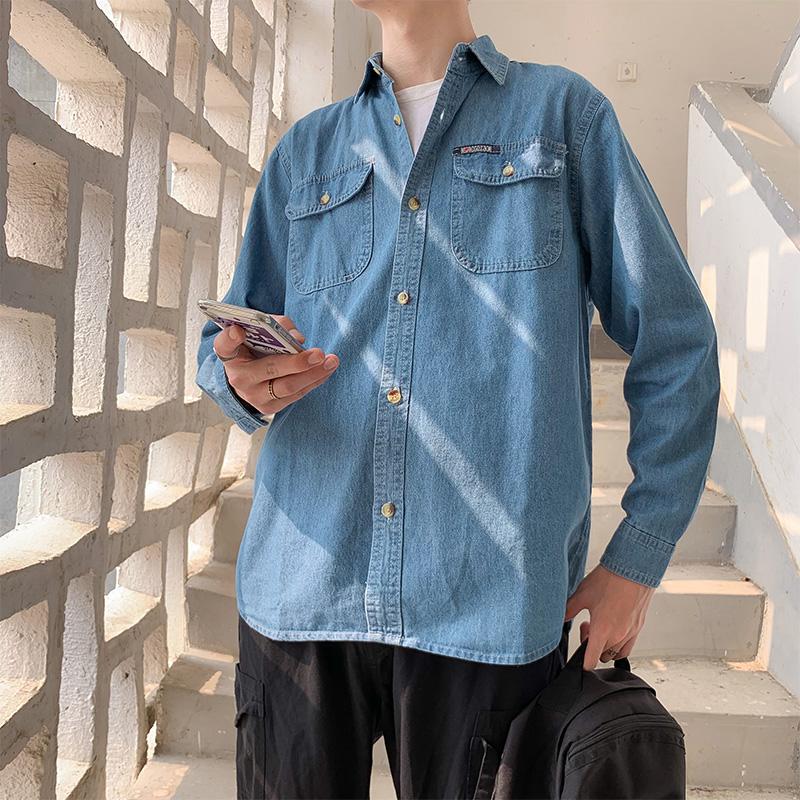 牛仔衬衫男潮复古春季休闲潮牌打底长袖衬衣韩版潮流百搭青年外套图片