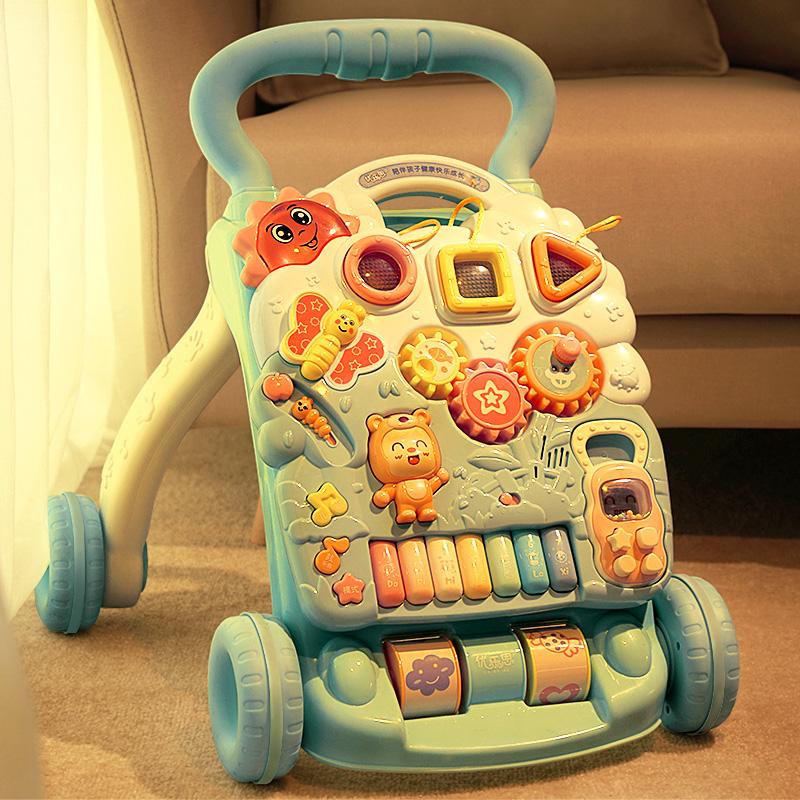 婴儿学步车手推车儿童学走路多功能防侧翻1岁7-18个月宝宝助步车(非品牌)