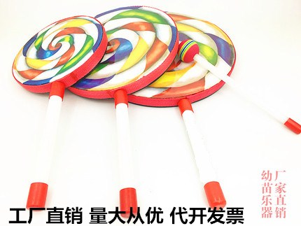 Kindergarten early education toys children lollipop hand drum Orff percussion instrument 6 inch 8 inch 10 music teaching aids