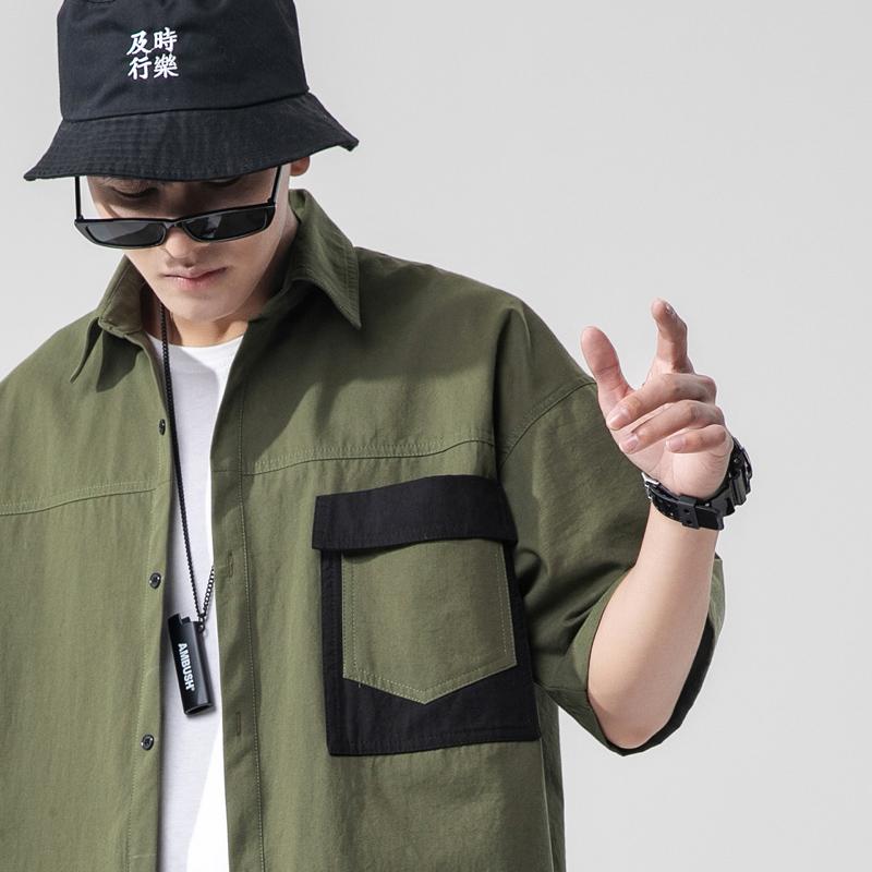 日系大码男装短袖工装衬衫男外套帅气宽松衬衣潮A367ACS101P45