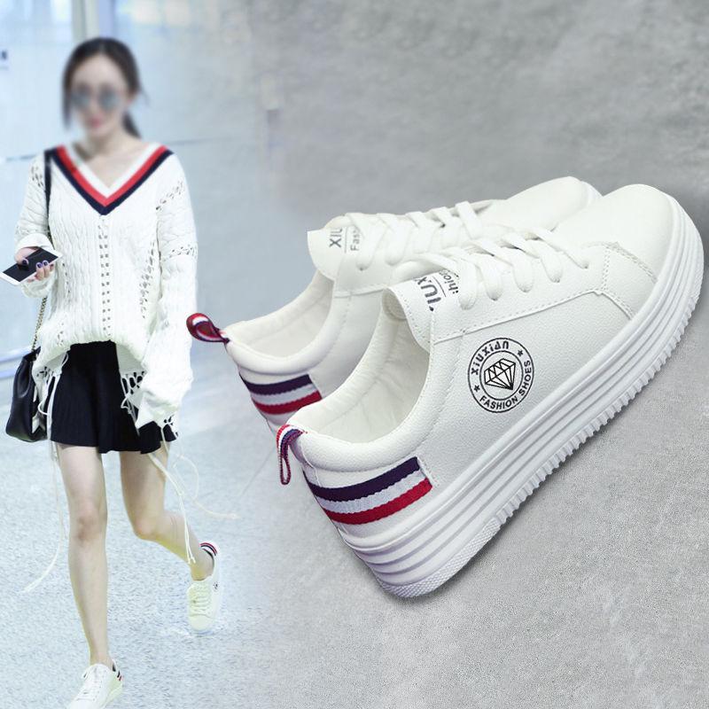 韩版夏季学生百搭小白鞋镂空透气板鞋休闲运动女鞋时尚厚底单鞋潮