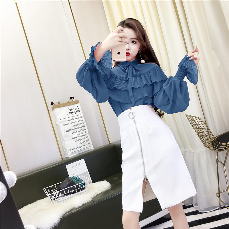 实拍2018新款时尚荷叶边甜美衬衣+高腰拉链半身裙套装
