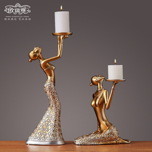European Candlestick decorations Romantic retro living room table decorations Creative candlelight dinner props candlestick