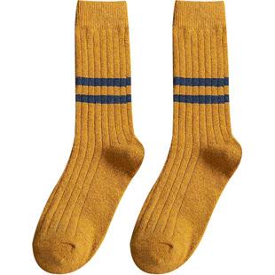 條紋長襪子女中筒襪韓版ins潮韓國日系堆堆襪秋冬季羊毛加厚保暖