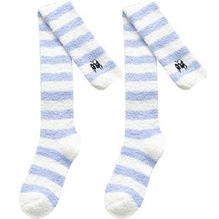 珊瑚絨長筒襪子女生秋冬季毛巾地板襪保暖加厚加絨日系高筒過膝襪