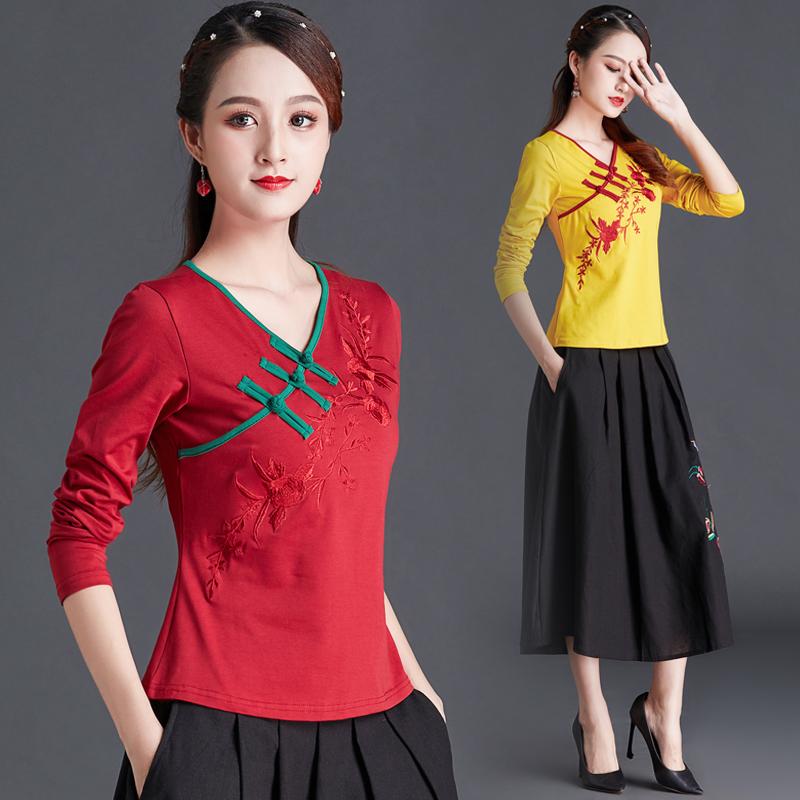 民族风女装春装中国风复古刺绣盘扣上衣长袖女T恤大码绣花打底衫图片