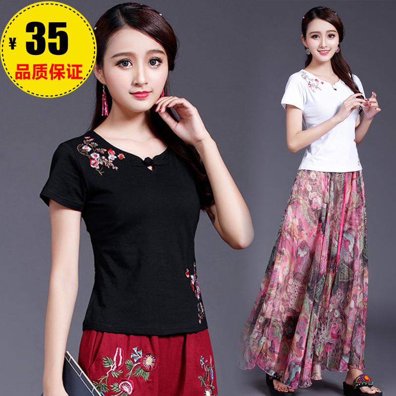 民族风女装短袖T恤女 中国风 2018夏季新款 盘扣刺绣花刺绣打底衫