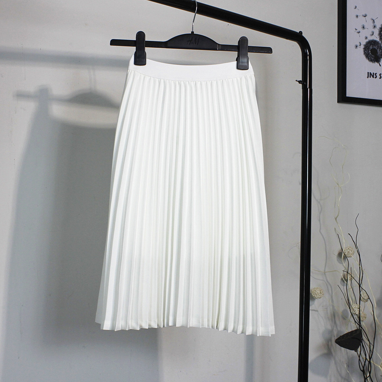 2020春夏装新款韩版雪纺白色百褶裙