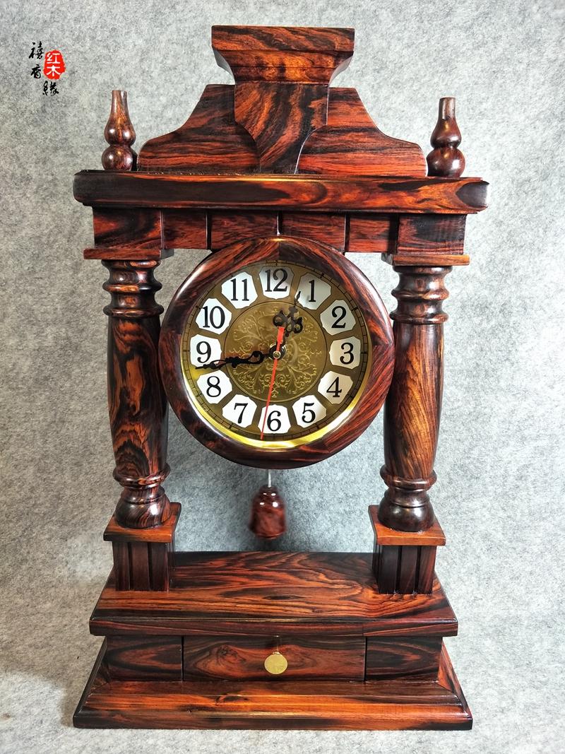 老挝大红酸枝挂钟座钟 居家挂件红木精美钟表越南工艺品家居摆件