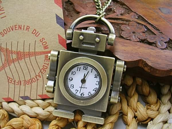 复古机器人怀表卡通挂表 情人项链表 儿童学生日礼物石英手表包邮 Изображение 1