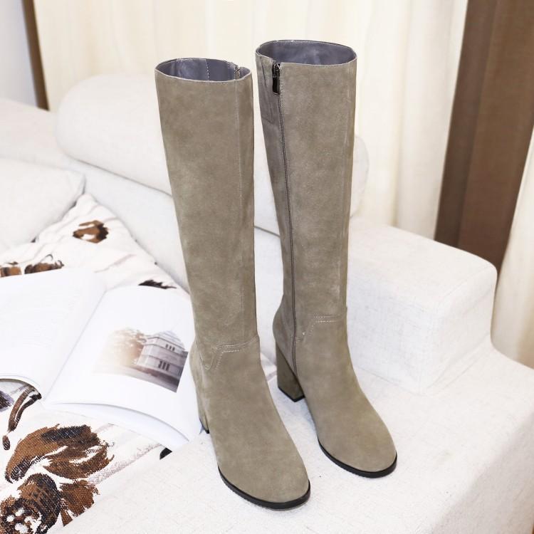格尔贝丝秋冬新款韩版磨砂女靴全皮及膝靴女卡其色高筒粗高跟长靴
