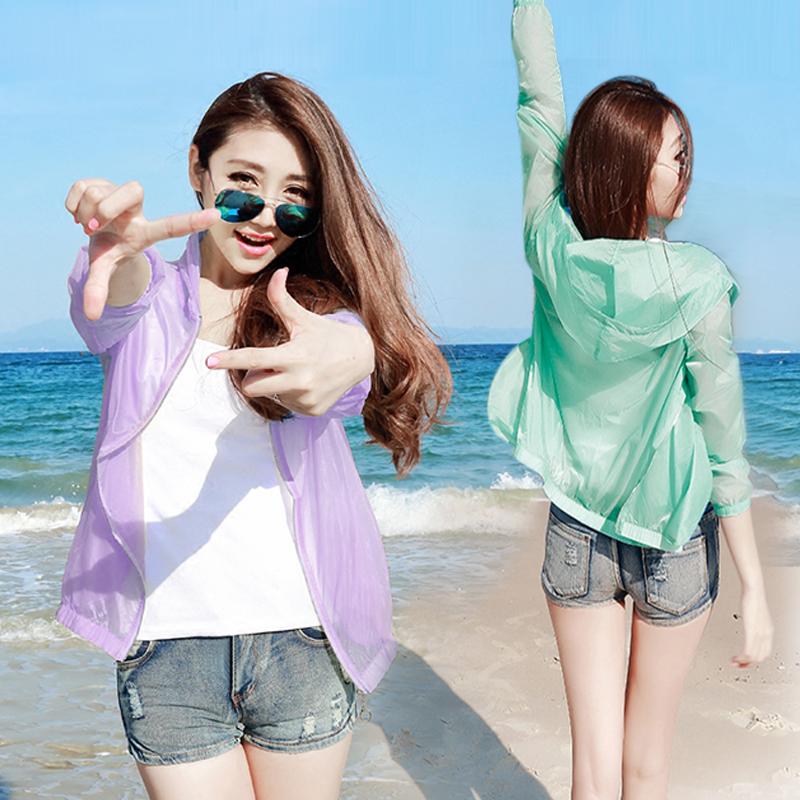 夏の日よけの服の女性の薄いタイプの2017新型の韓国版の長袖の百合防紫外線の大きいサイズの空気を通す短い上着