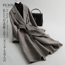 Youshi 2019 New Double-faced Wool Suede Overcoat Women's Medium and Long-term Self-cultivation Herringbone Wool Fabric Overcoat Anti-season M006