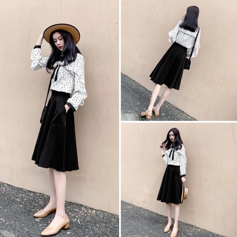 时尚气质减龄连衣裙2020年春季新款女装春秋洋气雪纺两件套装裙子