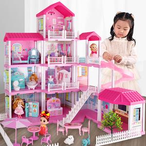 晴雪芭比娃娃仿真公主屋城堡女孩过家家别墅模型套装儿童生日礼物