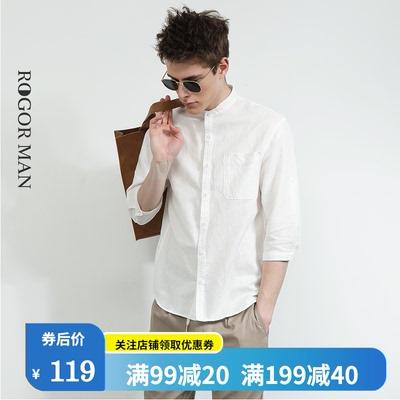 立领亚麻衬衫男七分袖宽松休闲白色短袖棉麻衬衣日系上衣寸衫夏季