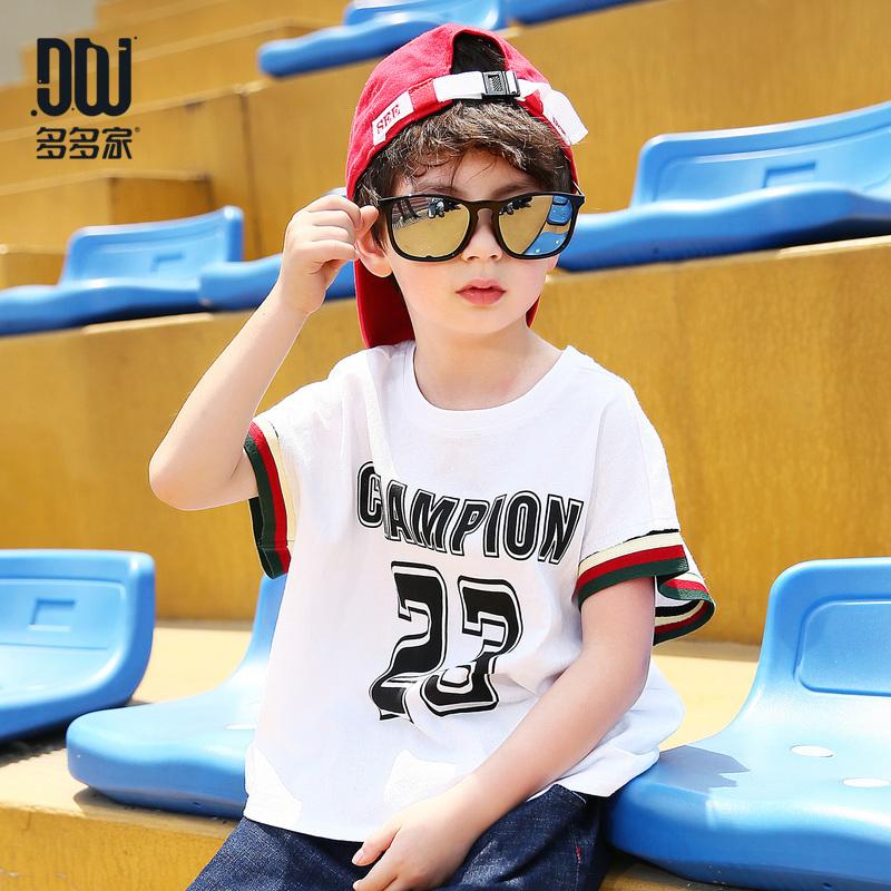 多多家童装男童帅气韩版短袖t恤2018新款夏季中大童时尚圆领体恤