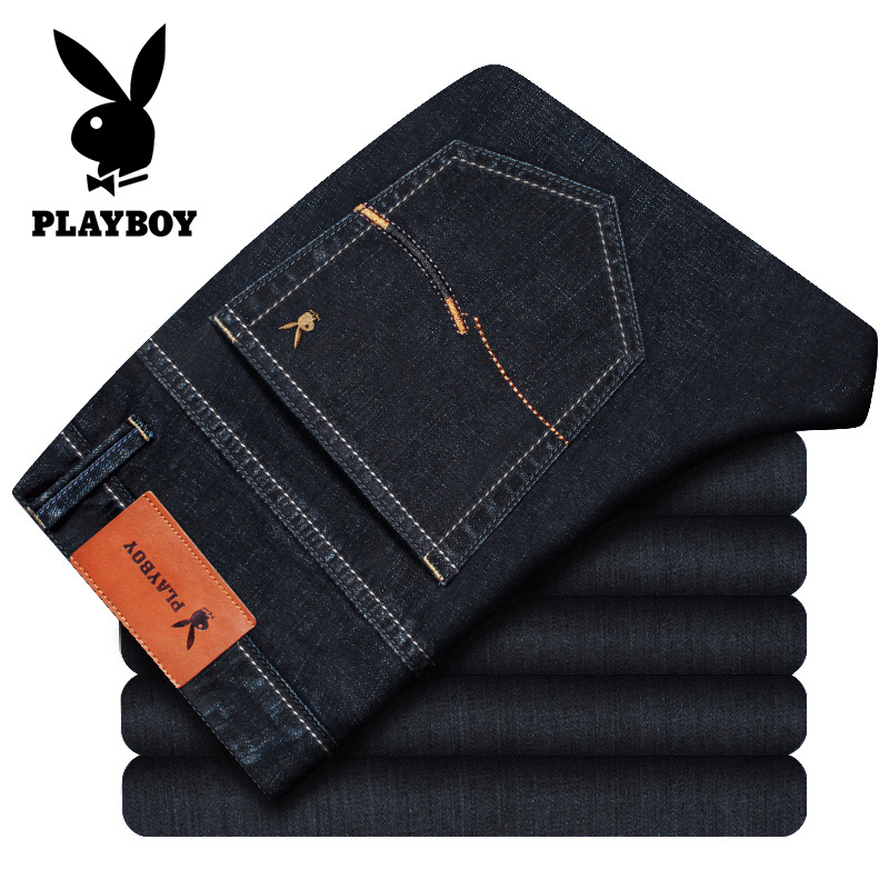 Playboy authentic mens jeans autumn stretch slim business casual large autumn winter pants men