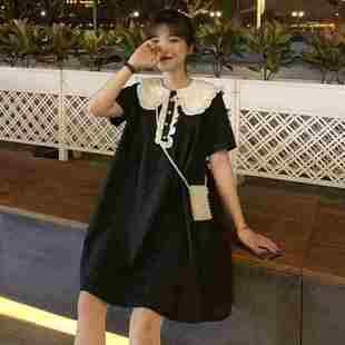 新款裙子夏季長裙韓版減齡清新可愛娃娃領中寬鬆短袖連衣裙女A型