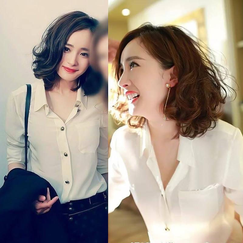 白衬衫女设计感小众秋季长袖衬衣洋气宽松垂感时尚气质雪纺上衣潮