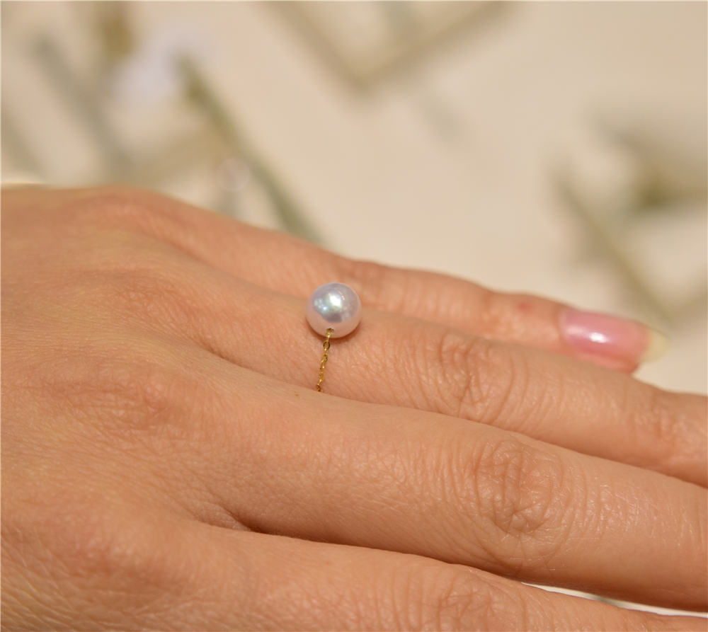 Akoya Sea Pearl Ring 18K gold chain 6-7 natural round strong high gloss genuine Japanese pearl soft ring
