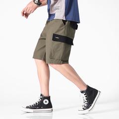 2019夏季休闲短裤日系哈伦工装五分裤【无影墙】(军绿)K1927-P45