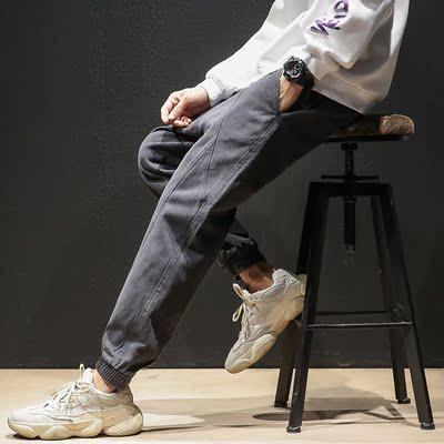 K1863休闲裤 秋冬日系新款大码九分束脚裤(黑色)【木板】特P70