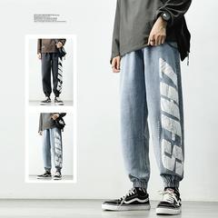 2021春季新款日系ins港风白墙1大码印花束脚牛仔裤M-5X K1033-P50