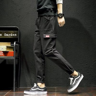 K727休闲裤秋冬日系抽绳贴标大口袋长裤(黑色)【控价68】特批50