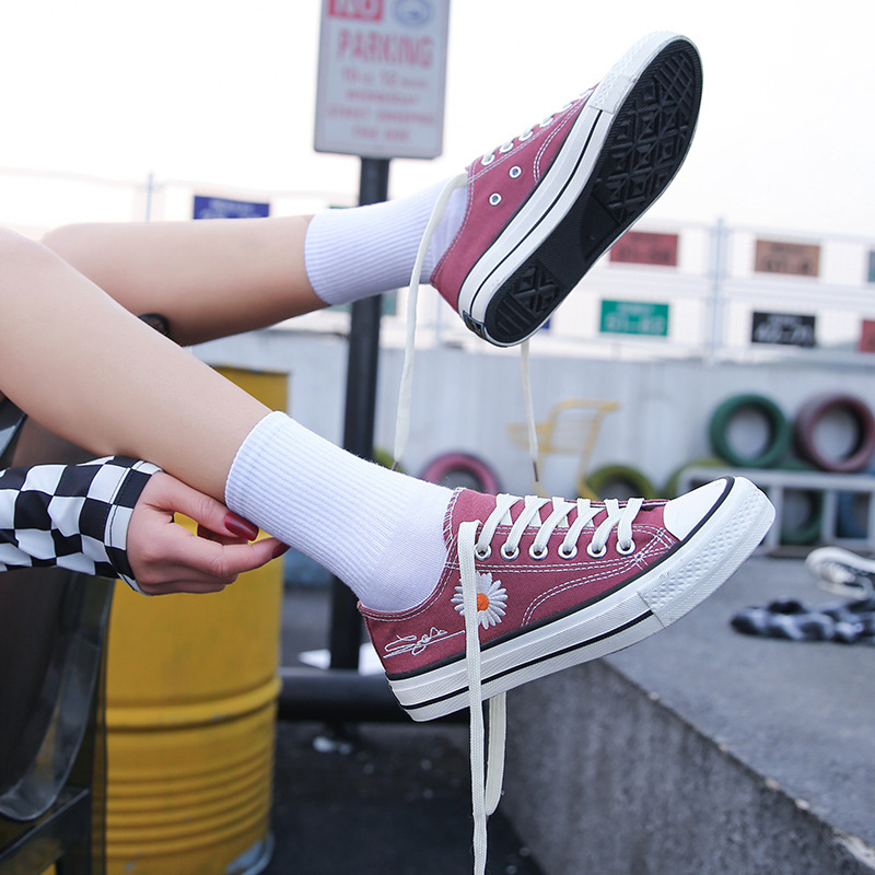 Canvas shoes woman ulzzang versatile spring and summer daisy flower wash low top black small crowd thin fashion I