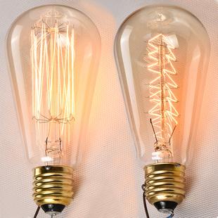 饰灯泡 白炽灯泡复古钨丝60w瓦爱迪生灯泡E27螺口工业酒吧咖啡厅装