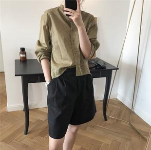 RIGEL 夏季新款法式慵懒精品立领亚麻衬衫宽松微透薄防晒衬衣女