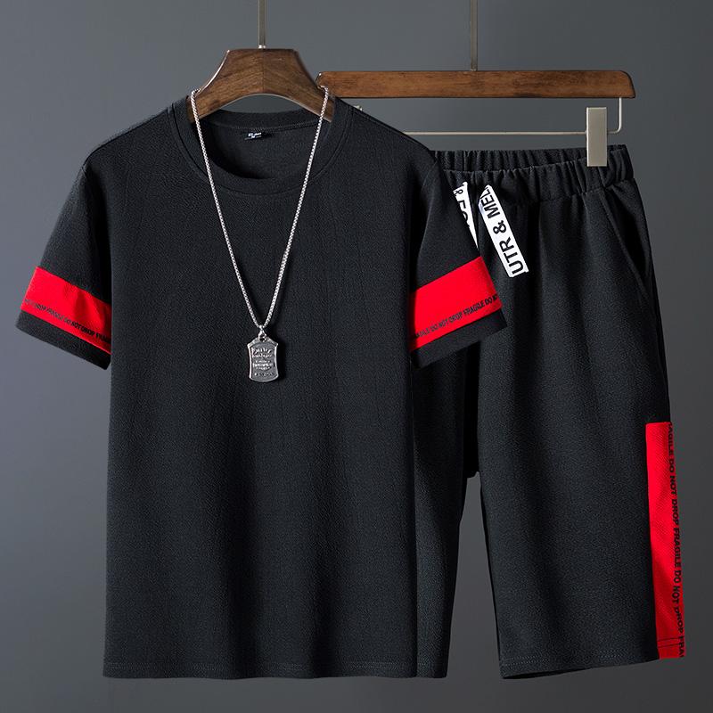 夏季男士短袖套装2019新款潮t恤五分袖男装半袖上衣短裤潮牌套装
