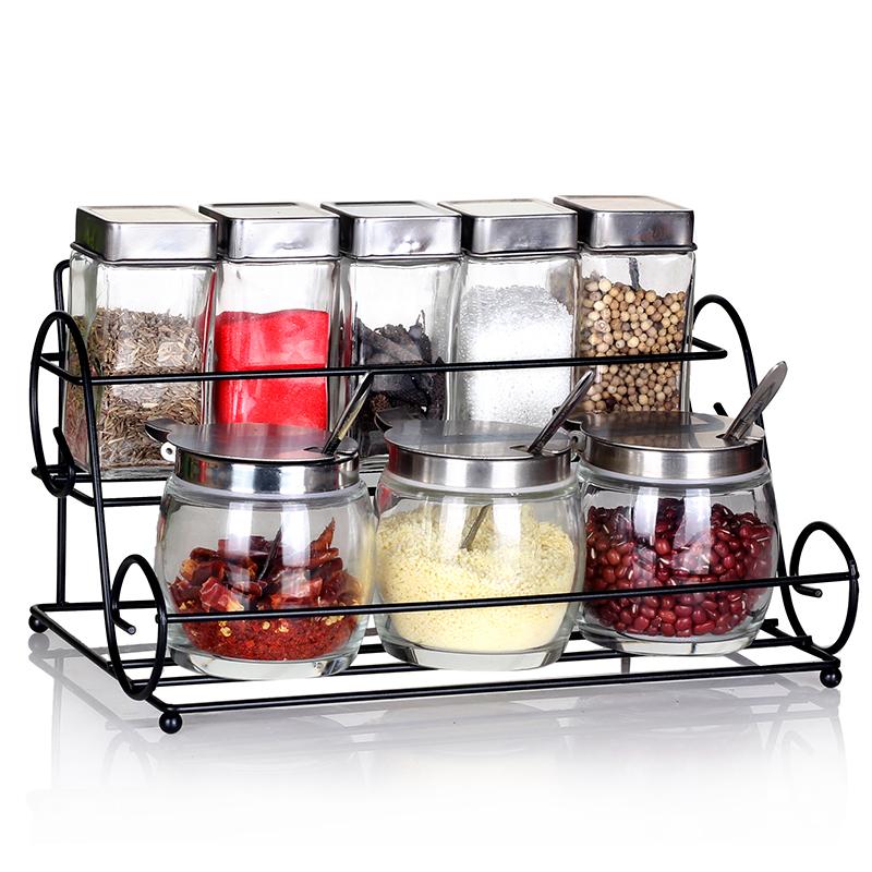 愛樂優廚房玻璃調味罐 調味瓶套裝 調料罐 密封罐 儲物罐帶架