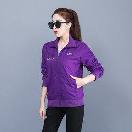 中年女款运动单件大码夹克秋季立领跑步运动工作服广场服运动风衣